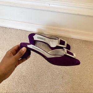 Prada Jeweled-Buckle Suede Mule Slide Sandal 36.5